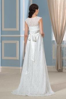 Robe de mariée Train de petit Simple Orné de Nœud à Boucle Dentelle