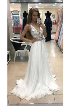Robe de mariée Chic Perle Longueur de plancher A-ligne Mousseline
