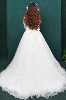 Robe de fille de fleur Tulle A-ligne Formelle Naturel taille