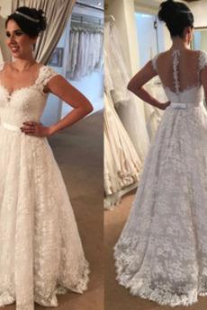 Robe de mariée Hiver Sans Manches Naturel taille Appliquer Cérémonial