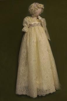 Robe de fille de fleur Cérémonie Manquant Manche Courte Dentelle