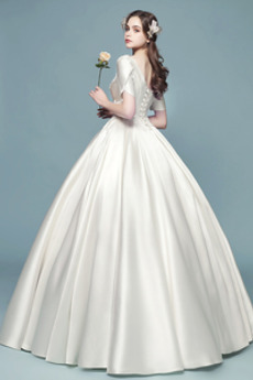 Robe de mariée Ancien A-ligne Manche Courte Laçage Col Carré