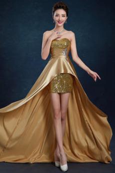 Robe de soirée Asymétrique Étirer Satin Fermeture à glissière