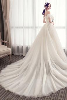 Robe de mariée Mancheron Dentelle Traîne Courte Chapelle Naturel taille