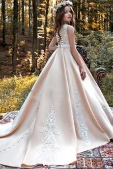 Robe de fille de fleur Appliquer Mariage A-ligne Petit collier circulaire