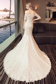 Robe de mariée Manche Aérienne Lacez vers le haut Salle Traîne Courte