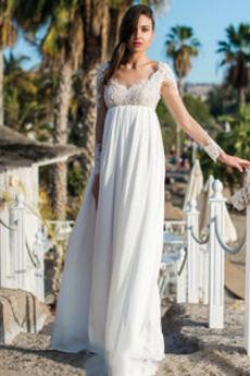 Robe de mariée Simple Perler Taille haute Longueur de plancher