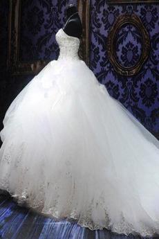 Robe de mariée Tulle Col en Cœur Eglise Sans Manches Ancien Cristal
