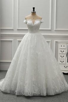 Robe de mariée Manche Courte Tulle Naturel taille Elégant Épaule envelopper