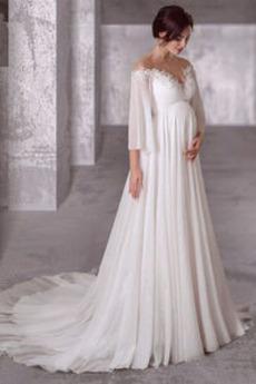 Robe de mariage Manche Lâche Epurée taille haut Grossesse Taille haute