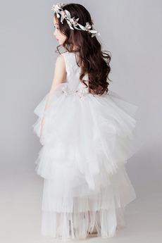Robe de fille de fleur Manquant Sans Manches Naturel taille Petit collier circulaire