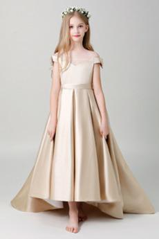Robe de fille de fleur Asymétrique Mancheron Médium Haut Bas