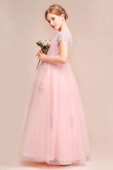 Robe de fille de fleur Mariage Couvert de Dentelle Glissière
