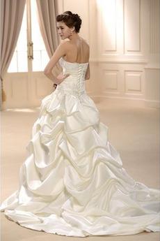 Robe de mariée Traîne Longue Vintage Printemps A-ligne Tube droit