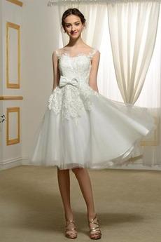 Robe de mariage Col Bateau Couvert de Dentelle A-ligne Longueur de genou