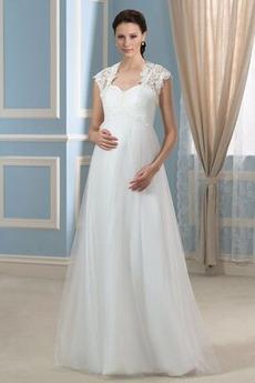 Robe de mariée Taille haute Elégant Plissé Avec la veste Manche Courte