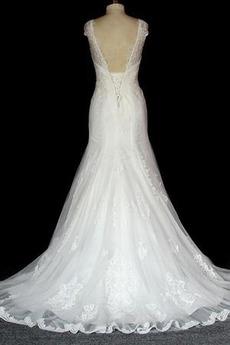 Robe de mariée Dentelle Sans Manches Sirène Salle des fêtes Lacez vers le haut