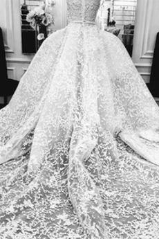 Robe de mariée Dentelle haut bustier tube Hiver Sans Manches