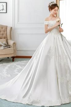 Robe de mariée A-ligne Automne Chaussez Mancheron Rosée épaule