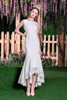 Robe de mariée Dentelle Sans Manches Printemps Sirène Plage Poire