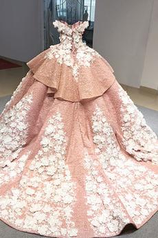 Robe de bal Luxueux Hiver Laçage Naturel taille Organza Grandes Tailles