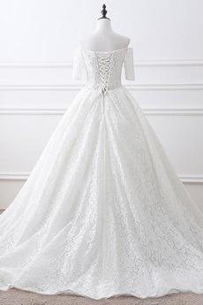 Robe de mariage Manche Courte A-ligne Naturel taille Chapelle
