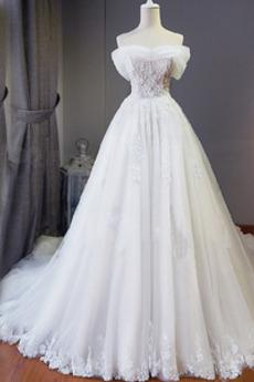 Robe de mariée Manche Courte Automne A-ligne Chaussez Triangle Inversé