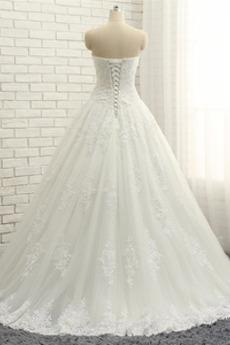 Robe de mariage A-ligne Longue Elégant haut bustier tube Soie