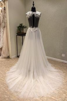 Robe de mariée Col en V Jardin net A-ligne Naturel taille Tube droit
