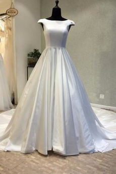 Robe de mariée Manche Courte Satin Trou De Serrure Col Bateau