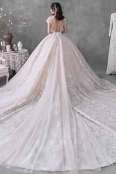 Robe de mariée Laçage Longue Col en V Soie Eglise Manche Aérienne