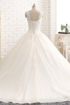 Robe de mariage Traîne Moyenne Sans Manches Col en Cœur Dos nu