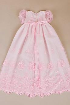 Robe de fille de fleur Cérémonie Dentelle Princesse Manche Courte