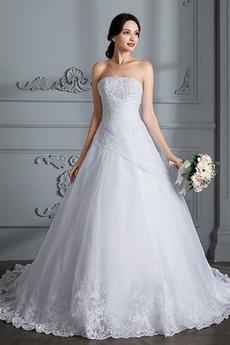 Robe de mariage Formelle Naturel taille Automne Sans bretelles