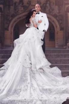 Robe de mariée Manche Aérienne Longue Luxueux Attache Manquant