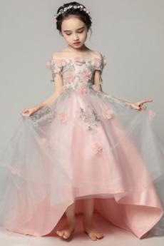 Robe de fille de fleur Satin Fleurs Été Fermeture à glissière