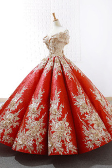Robe de bal Rosée épaule Manche Courte Laçage À la masse Étoilé