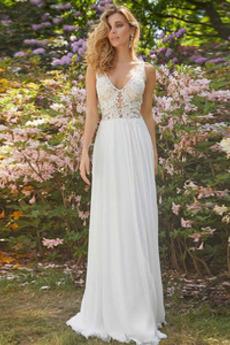 Robe de mariée Simple aligne Décalcomanie Couvert de Dentelle