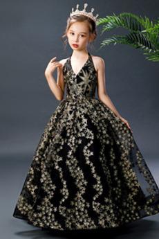 Robe de fille de fleur Festin Dos nu A-ligne Romantique Col en V