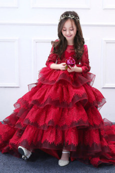 Robe de fille de fleur Naturel taille Couvert de Dentelle Festonné