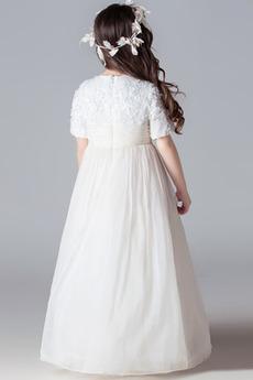 Robe de fille de fleur Fermeture éclair A-ligne Longueur Cheville