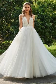 Robe de mariée Longueur Cheville Sans Manches a ligne Attrayant