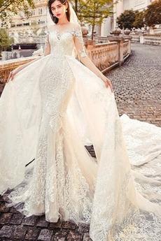Robe de mariée aligne Traîne Longue Salle Chaussez Manche Aérienne