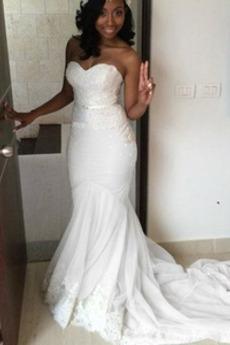 Robe de mariée Sirène col coeur Poire Décalcomanie Froid Dos nu