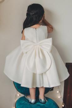 Robe de fille de fleur Petit collier circulaire A-ligne Fermeture à glissière