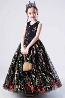 Robe de fille de fleur Norme Décalcomanie Elégant Longueur Cheville