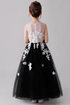 Robe de fille de fleur Tulle Longueur Cheville Petit collier circulaire