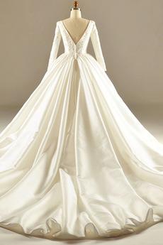 Robe de mariée Manche Longue Eglise Attache Satin Longue Norme
