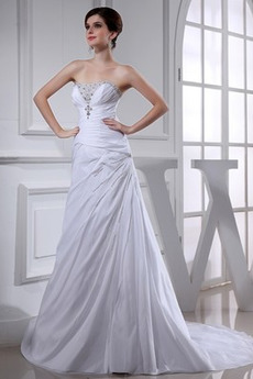 Robe de mariée Chaussez haut bustier tube Perle A-ligne Fourreau Avec Bijoux