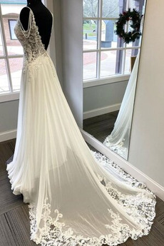 Robe de mariée Norme Mousseline Col en V Appliquer Col en V Foncé